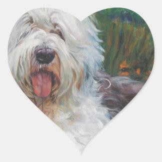Beautiful Old English Sheepdog Dog Art Painting Heart Sticker