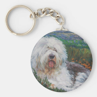 Beautiful Old English Sheepdog Dog Art Painting Keychain