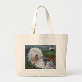 Beautiful Old English Sheepdog Dog Art Painting Large Tote Bag
