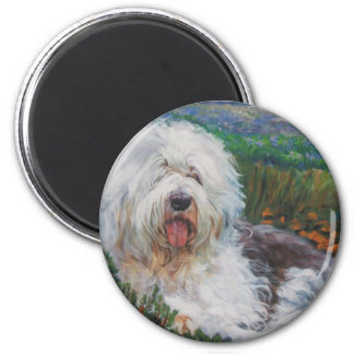Beautiful Old English Sheepdog Dog Art Painting Magnet