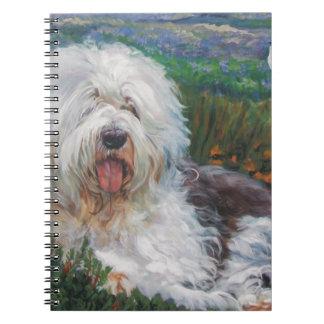 Beautiful Old English Sheepdog Dog Art Painting Notebook