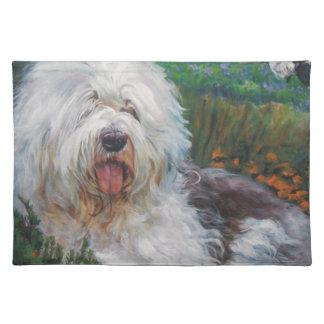 Beautiful Old English Sheepdog Dog Art Painting Placemat