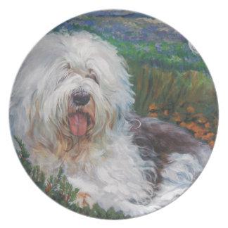 Beautiful Old English Sheepdog Dog Art Painting Plate