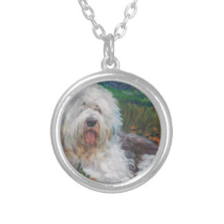 Beautiful Old English Sheepdog Dog Art Painting Silver Plated Necklace