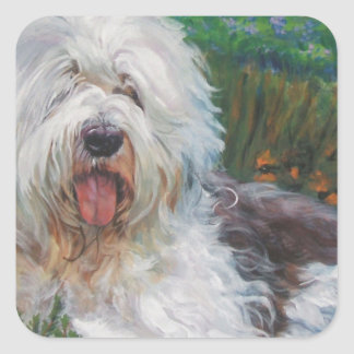 Beautiful Old English Sheepdog Dog Art Painting Square Sticker