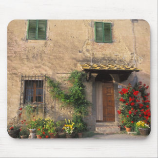 Beautiful old home with flowers at San Gimignano Mousepad