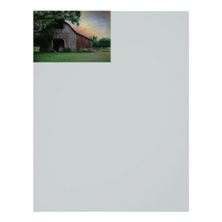 Beautiful old red barn letterhead template