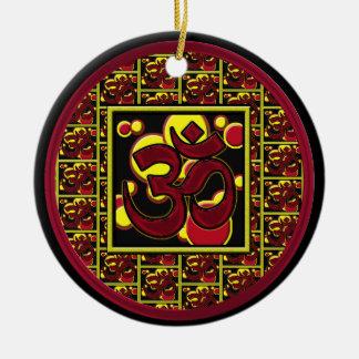 Beautiful Om Aum Symbol w/Circles and Squares Ceramic Ornament