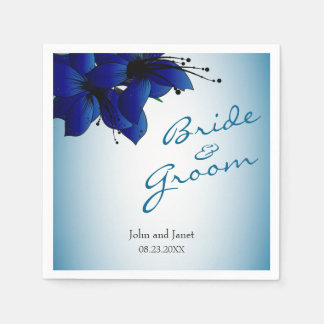 Beautiful Ombre Blue Floral Wedding Disposable Napkin