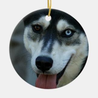Beautiful One Blue Eye Siberian Husky Ceramic Ornament