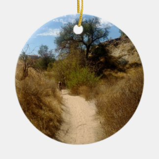 Beautiful Open Hiking Trail in the Dry Brush Round Ceramic Ornament