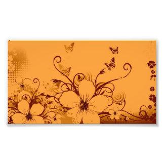 Beautiful orang Flowers Swirl abstract vectror art Photo Print