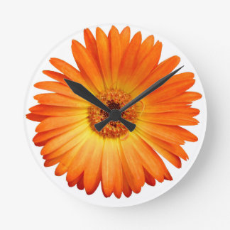 Beautiful Orange and Yellow Gerbera Daisy Round Clock