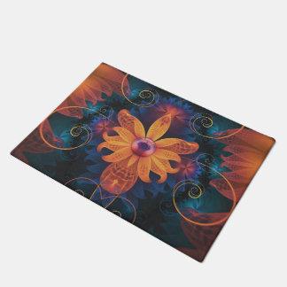 Beautiful Orange-Blue Fractal Angel Orchid Flower Doormat