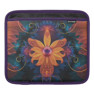 Beautiful Orange-Blue Fractal Angel Orchid Flower iPad Sleeve