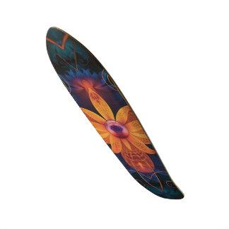 Beautiful Orange-Blue Fractal Angel Orchid Flower Skateboard