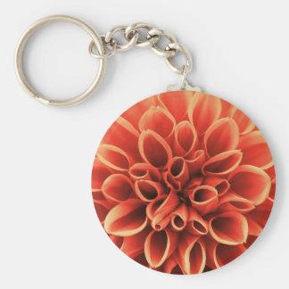 Beautiful Orange Dahlia Flower Basic Round Button Keychain