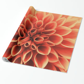 Beautiful Orange Dahlia Flower Wrapping Paper