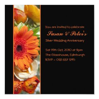 Beautiful Orange Flower Anniversary Invitation