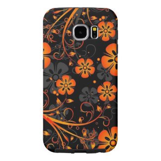 beautiful orange flowers vector and swirl art samsung galaxy s6 cases