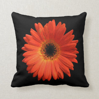 Beautiful Orange Gerbera Daisy Throw Pillow