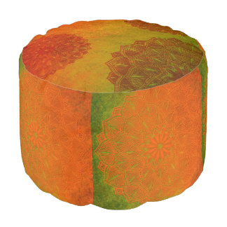 Beautiful Orange, Green and Rust Mandala Pouf