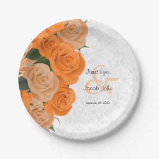 Beautiful Orange Rose and White Damask Wedding Paper Plate