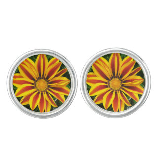 Beautiful Orange Sun Flower Photo Cufflinks