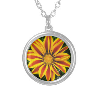 Beautiful Orange Sun Flower Photo Silver Plated Necklace