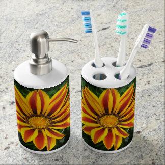 Beautiful Orange Sun Flower Photo Soap Dispenser And Toothbrush Holder