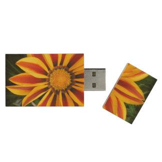 Beautiful Orange Sun Flower Photo Wood USB 2.0 Flash Drive