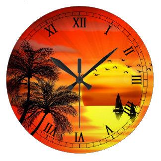 beautiful orange sunset art large clock