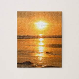 Beautiful orange sunset at the beach in Bali Jigsaw Puzzle