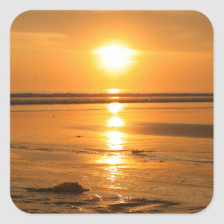 Beautiful orange sunset at the beach in Bali Square Sticker
