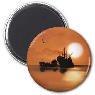 Beautiful orange sunset ships birds illustration refrigerator magnets