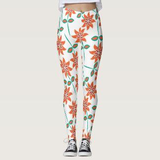 Beautiful Orange, White and Green Floral Leggings