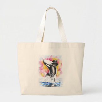 Beautiful Orca Whale Breaching Large Tote Bag