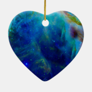 Beautiful Orion Nebula Ceramic Heart Ornament