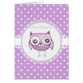 Beautiful Owl with Pastel Polka Dots Lavender Card