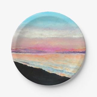 Beautiful Painted Sunset In Pastels | Paper Plate