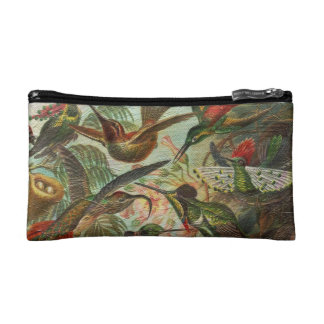 Beautiful Painted Vintage Birds Makeup Bags
