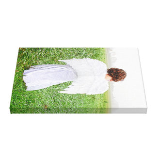 Beautiful painterly photo of an angel in a field canvas print