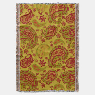 Beautiful Paisley | olive citron burgundy Throw Blanket