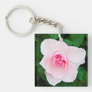 Beautiful pale pink rose and green leaves key ring Single-Sided square acrylic keychain