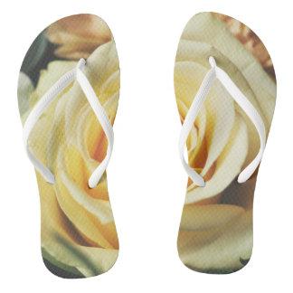 Beautiful Pale Yellow Rose Flip Flops