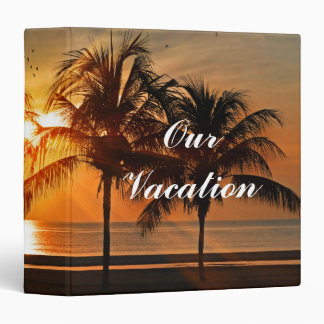 Beautiful Palm Trees Beach at Sunset Personalized 3 Ring Binder