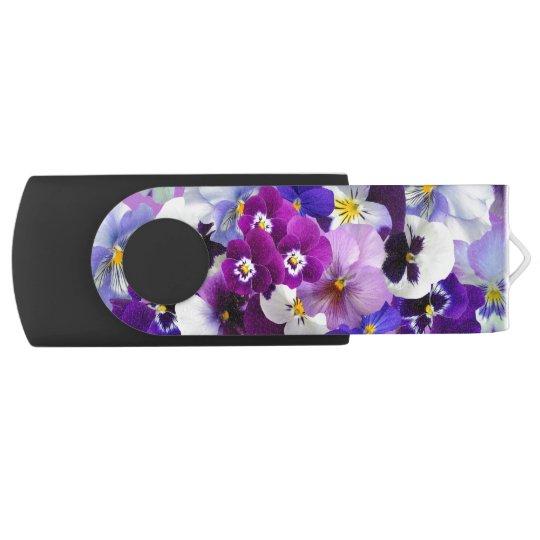 Beautiful Pansies Spring Flowers USB Flash Drive Swivel USB 2.0 Flash Drive
