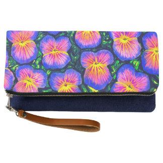 Beautiful Pansy Watercolour Clutch Bag