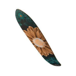 Beautiful Paradise Chrysanthemum of Orange & Aqua Skate Board Decks