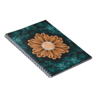 Beautiful Paradise Chrysanthemum of Orange & Aqua Spiral Notebook